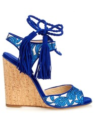 Paul Andrew Tiajin Suede Floral Wedges Blue Multi