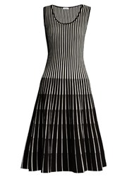 Tomas Maier Stripe Intarsia Sleeveless A Line Dress Black White