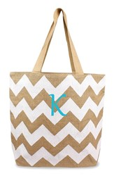Cathy's Concepts Personalized Chevron Print Jute Tote White White Natural K