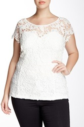 Soieblu Sweetheart Lace Blouse Plus Size Beige