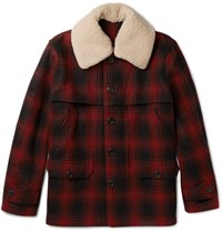 Kent And Curwen Hopkins Shearling Trimmed Checked Wool Jacket Red