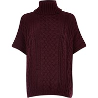 River Island Womens Dark Red Cable Knit Short Sleeve Poncho