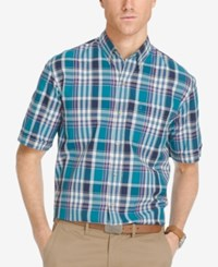Izod Men's Plaid Short Sleeve Shirt Ocean Depths