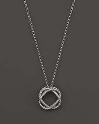 Roberto Coin 18K White Gold Small Twisted Circle Pendant Necklace 16 Bloomingdale's Exclusive