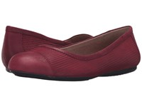 Softwalk Napa Red Nubuck Embossed Leather Leather Women's Flat Shoes