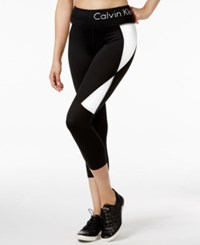 Calvin Klein Performance Colorblocked Capri Leggings Black White