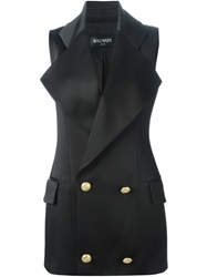 Balmain Double Breasted Waistcoat Black