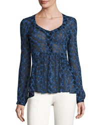 Derek Lam Python Print Scoop Neck Blouse Blue Allium