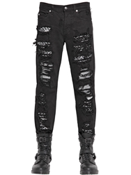 Mcq By Alexander Mcqueen 18Cm Destroyed And Patched Denim Jeans Black