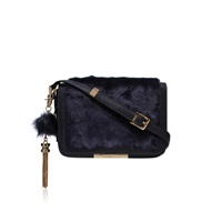 Carvela Cale Crossbody Fur Clutch Bag Navy