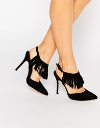 Blink Tassel Sling Heeled Shoes Black