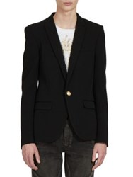 Balmain Long Sleeve Wool Jacket Black