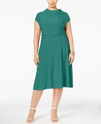 Love Squared Plus Size Tie Neck A Line Dress Teal
