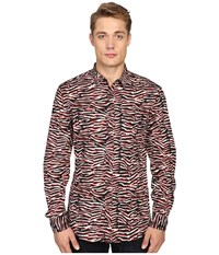 Just Cavalli Slim Fit Swallow Print Shirt True Red Variant Men's Clothing Brown