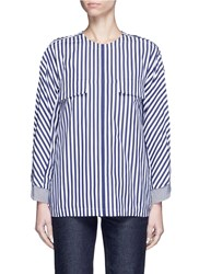 Toga Archives Stripe Contrast Cuff Shirt Tunic Multi Colour