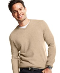 Club Room Big And Tall Cashmere V Neck Solid Sweater Oatmeal Heather