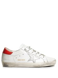 Golden Goose Super Star Low Top Leather Trainers Red White