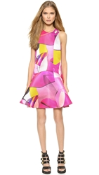 Kenzo Duchess Satin Paper Drop Waist Dress Deep Fuchsia