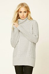 Forever 21 Ribbed Knit Turtleneck Sweater Heather Grey
