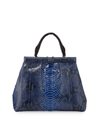Nancy Gonzalez Python Pleated Crocodile Trim Satchel Bag Royal Blue