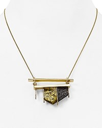 Alexis Bittar Crystal Encrusted Matte Pendant Necklace 14 Antique Gold
