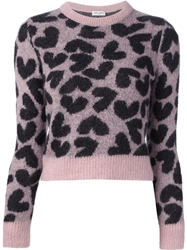Saint Laurent Heart Print Sweater Pink And Purple