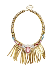 Liquorish Multi Gem Statement Necklace With Bars Gold