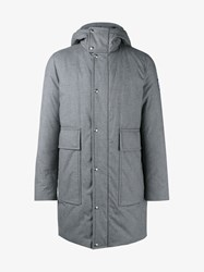 Moncler Gamme Bleu Cotton And Feather Down Hooded Coat Grey