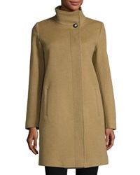 Fleurette Funnel Neck Wool Blend Coat Toast