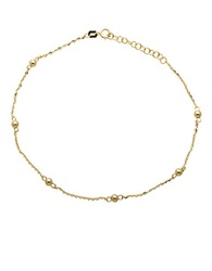 Lord And Taylor 14K Yellow Gold Beaded Anklet