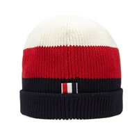 Thom Browne Ribbed Tricolour Beanie Red Navy And White