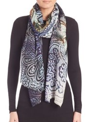 Bindya Paisley Cashmere And Silk Scarf Blue