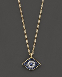 Meira T Diamond Sapphire And 14K Yellow Gold Evil Eye Pendant Necklace No Color
