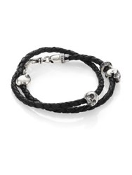 King Baby Studio Thin Braided Double Wrap Leather Bracelet Silver