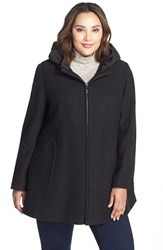 Plus Size Women's Kristen Blake Hooded Boiled Wool Blend Swing Coat Black