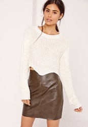 Missguided Crop Raw Hem Jumper White Ivory