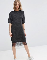 Asos Jumper Dress With Lace Hem Detail Charcoal Grey