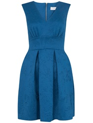 Almari V Neck Embossed Scuba Dress Petrol Blue
