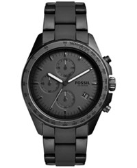 Fossil Men's Chronograph Sport 54 Black Stainless Steel And Silicone Bracelet Watch 44Mm Ch3038