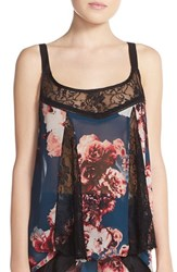 Women's Band Of Gypsies Lace Inset Floral Camisole Teal Black