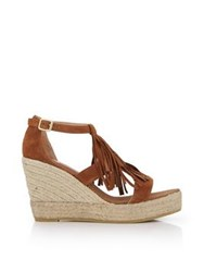 Kanna Ante Fringed Espadrille Wedges Tan