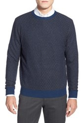 Toscano Circle Texture Crewneck Sweater Blue