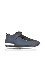 Balmain Doda Navy Blue And Black Leather And Fabric Sneakers
