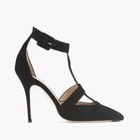 J.Crew Roxie Suede T Strap Pumps Black