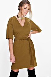 Boohoo Kimono Sleeve Obi Belt Shift Dress Olive