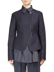 Cedric Charlier Woolen Double Breasted Jacket Black White