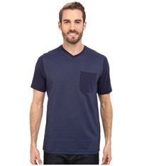The North Face Short Sleeve Alpine Start V Neck Tee Cosmic Blue Men's T Shirt