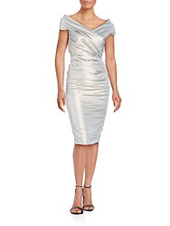 Teri Jon Cinched Cap Sleeve Dress Metallic
