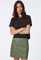 Missguided Nikcola Faux Leather Cargo Pocket Mini Skirt Beige
