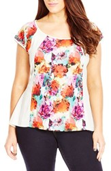 City Chic Plus Size Women's 'Water Floral' Print Top